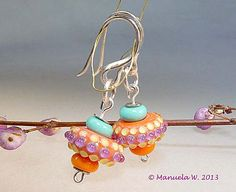 Artist lampwork earrings  handmade by by ManuelasGlassArt on Etsy, $75.00