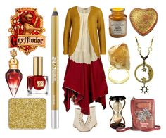 """Gryffindor House"" by maggiehemlock ❤ liked on Polyvore featuring dELiA*s, Eye Candy, Orien Love, Miss Selfridge, ONLY, Paddywax, Disaster Designs, Estée Lauder, Urban Decay and shu uemura"