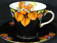 Aynsley ART Deco Black HP Floral TEA CUP AND Saucer | eBay