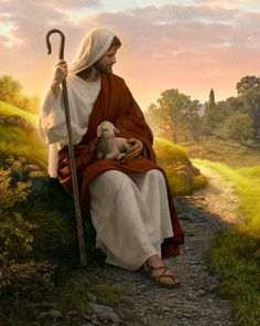Jesus caring for a baby lamb, Christ is our shepherd