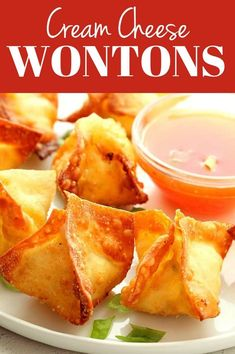 Make Cream Cheese Wontons are both crispy and creamy. The Rangoon style fried wontons are filled with seasoned cream cheese mixture. Cream Cheese Wontons, Make Cream Cheese, Sweet Cream Cheese Rangoon Recipe, Wonton Recipes, Appetizer Recipes, Chicken Recipes, Dinner Recipes, Great Appetizers, Italian Appetizers