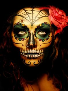 Did a similiar Dia de los Muertos Skull Makeup for Halloween this year - except with a whiter face - It was definitely a hit! Looks Halloween, Halloween Kostüm, Halloween Costumes, Halloween Face Makeup, Skeleton Costumes, Holiday Costumes, Girl Costumes, Vintage Halloween, Dead Makeup