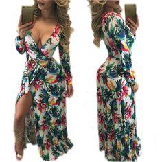 218b836eba4 New Arrival Vestidos Fashion Print Long Dress 2016 Autumn Women Dress Sexy  Deep V Neck Party Dresses Elegant Vestido De Festa-in Dresses from Women s  ...