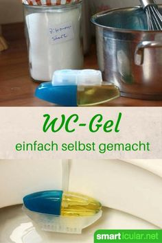 WC-Gel-Spender selbst gemacht – preiswert und umweltfreundlich Toilet stones and gels reduce unpleasant smells and extend cleaning intervals. You can also easily and inexpensively manufacture toilet gel yourself. House Cleaning Tips, Diy Cleaning Products, Deep Cleaning, Cleaning Hacks, Decoracion Low Cost, Diy Household Tips, Household Organization, Savon Soap, Soaps