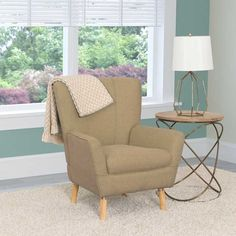 CorLiving Demi Retro Inspired Wood, Linen Fabric, and Foam Club Chair (Beige) Leather Chaise Lounge Chair, Leather Dining Room Chairs, Comfortable Accent Chairs, Comfortable Living Rooms, Living Room Seating, Living Room Chairs, Contemporary Dining Chairs, Modern Chairs, Cheap Adirondack Chairs