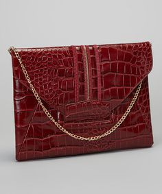 Take a look at this Burgundy Crocodile Chain Clutch by Adhesion, LLC on #zulily today!