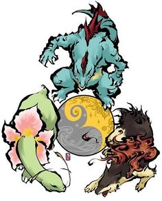 Okami style: Meganium, Feraligatr and Typhlosion. Too cool!