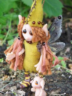 OOAK Handmade Polymer Clay Woodland Fairie by Sandy Darling of Woodlandkreatures on Etsy