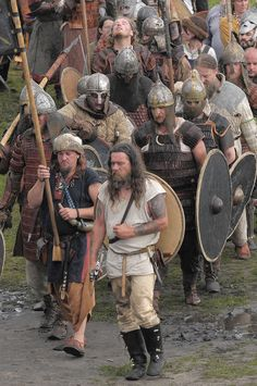 Slavic, and eastern Viking (Rus) warrior reenactors, at the XVIII Festival Wolin 2012, Poland.