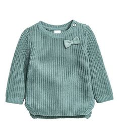 Dusky green. Textured-knit sweater in a soft cotton blend with a button on one shoulder. Slits at sides.
