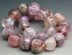 SJC Lampwork 23 handmade pink & violet dichroic glass round beads ~SRA~ USA~ #SJCLampwork #Lampwork