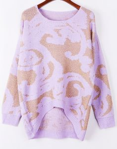 Purple Long Sleeve Metallic Yoke Abstract Pattern Sweater US$27.54