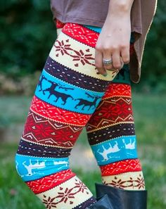 Adorable Deer and Flower Patterned, Colorful Christmas Tights, Winter Style
