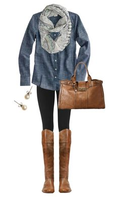 """Leather & Leggings"" by qtpiekelso ❤ liked on Polyvore featuring DKNY, J.Crew, American Eagle Outfitters, Frye and FOSSIL"
