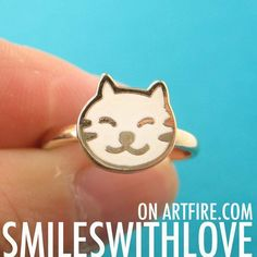 #smileswithlove on Artfire                          #ring                     #SALE #Kitty #Animal #Adjustable #Ring #White #Gold                           SALE Kitty Cat Animal Pet Adjustable Ring in White on Gold                                              http://www.seapai.com/product.aspx?PID=760600