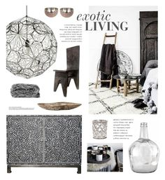 """Exotic Living"" by bellamarie ❤ liked on Polyvore featuring interior, interiors, interior design, home, home decor, interior decorating, Bloomingville, Tom Dixon, Arteriors and Zara Home"