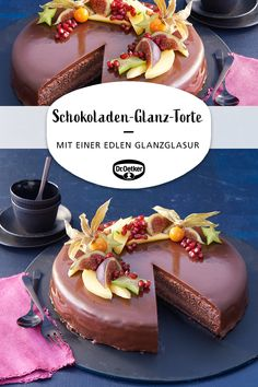 Schokoladentorte, überzogen mit einer edlen Glanzglasur #schokolade #zumkaffee #edletorte Pie Recipes, Cooking Recipes, Food And Drink, Birthday Cake, Sweets, Baking, Desserts, Chocolates, Bujo