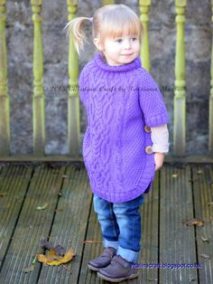 Knitting Pattern Cable Fantasy Poncho Toddler от ViTalinaCraft