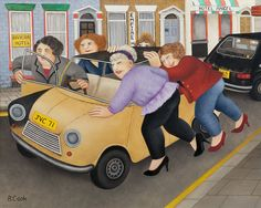 """Beryl Cook ~ """"A Good Little Runner"""", 1997 ~ oil on panel, 48 x 56 cms x 22 ins) 'The perfect motor car was regularly parked near our house, a rusty little banger about to fall to pieces' Paul Horton, Beryl Cook, Jack Vettriano, English Artists, British Artists, Fat Art, Family Picnic, Funny Art, Paintings For Sale"""