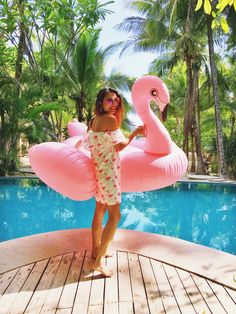 Flamingo Love - gorgeous off shoulder dress and pool floatie perfection
