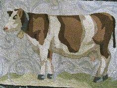 """Vintage Hooked Area Rug - Cow - Farm Animal - 44"""" x 26"""""""