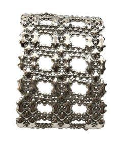 SG Liquid Metal Open Weave Mesh Silver Cuff Bracelet Style B83