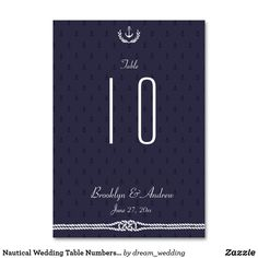Nautical Wedding Table Numbers Blue Anchors