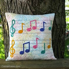 Musical Notes Pillow made with accuquilt die Learn how to make this cute Applique quilt pillow tutorial using the AccuQuilt GO Musical die and batik fabrics. Applique Cushions, Sewing Pillows, Applique Quilts, Kids Pillows, Animal Pillows, Quilting Projects, Sewing Projects, Cushion Cover Designs, Pillow Tutorial