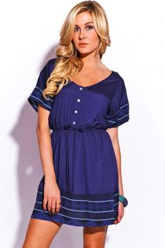 Trendy Cute navy blue button front A line mini sundress fo cheap | Affordable Clothing | 1015 store