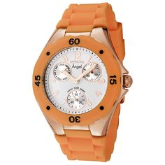 Invicta Women's 0712 Angel Collection Multi-Function Rose Gold-Plated Orange Polyurethane Watch *** You can get more details by clicking on the image.