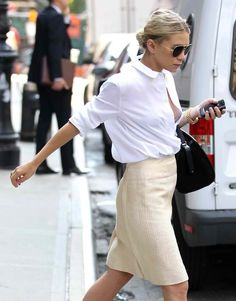 street fashion, white shirt, pencil skirt.