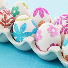 Easter eggs decorated with colorful flowers