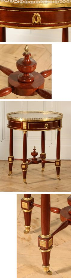 Mahogany Table-bouillotte Stamped Fj Papst, Louis XVI Period - Mahogany and mahogany veneer, gilded bronze, marble - Dim. (H x D): 70 x 60 cm. This table-bouillotte is covered with a marble top surrounded by a ingot mold with gallery in gilded bronze.