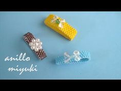 YouTube Beaded Necklace Patterns, Beading Patterns, Bead Jewellery, Beaded Jewelry, Bead Sewing, Ring Tutorial, Diy Rings, Bracelets, Seed Beads