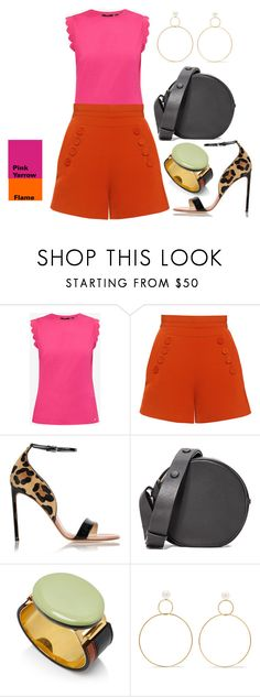 """""""Pink Yarrow + Flame"""" by somodishlychic on Polyvore featuring Ted Baker, Finders Keepers, Francesco Russo, Diane Von Furstenberg and Natasha Schweitzer"""