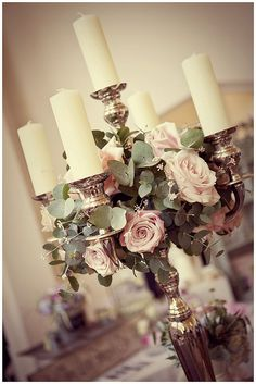 Subtle centrepiece with flowers Silver Candelabra Wedding Flowers Candelabra Wedding Centerpieces, Silver Candelabra, Flower Centerpieces, Reception Decorations, Candelabra Flowers, Centrepieces, Centerpiece Ideas, Floral Wedding, Wedding Flowers