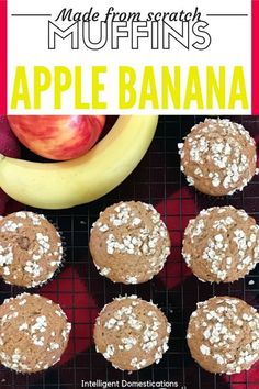 Make these yummy breakfast muffins from scratch. No mixer needed Kid friendly. This recipe uses fresh ripe bananas and apple. I call them Apple Banana Nut Muffins. You can call the Apple muffins or just banana muffins, the nuts are optional. #kidfriendly #muffins #applerecipe #bananarecipe #easy Ripe Banana Recipe, Banana Nut Muffins, Banana Oats, Banana Recipes, Apple Recipes, Apple Muffins, Fun Easy Recipes, Fall Recipes, Breakfast Bread Recipes
