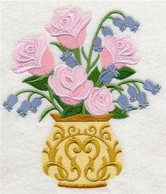 Victorian Roses & Bluebells Embroidered Towel   Flour Sack Towel   Linen Towel   Dish Towel   Kitchen Towel   Hand Towel