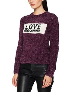 Love Moschino Damen Langarmshirt Knit Sweater With Embroidery, Rosa (Fuxia  O49), 34 4902283fca