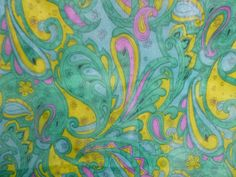 Vtg MOD Floral Paisley Cambric Upholstery Dust Cover Fabric Blue Green 46Wx4 Yds