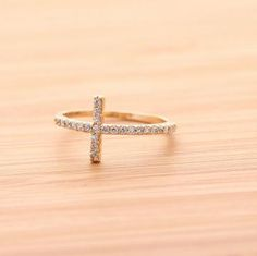 SIDEWAYS CROSS ring, with swarovski crystal in gold  by bythecoco for $19.00