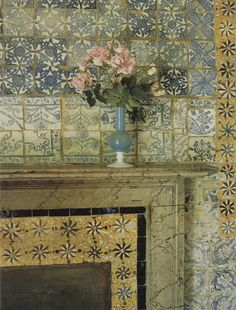 tile on hearth - dying pink roses