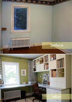 Home office decor-ideas over the radiator idea...great!
