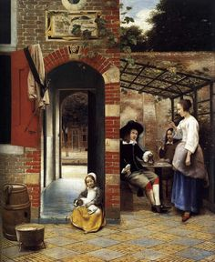 Pieter De Hooch - Courtyard of a House In Delft fine art preproduction . Explore our collection of Pieter De Hooch fine art prints, giclees, posters and hand crafted canvas products Delft, Pieter De Hooch, National Gallery, Gold Canvas, Dutch Golden Age, Johannes Vermeer, Peter Paul Rubens, Dutch Painters, European Paintings