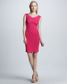 Fitted V-Neck Cap-Sleeve Dress by Kay Unger New York at Neiman Marcus.
