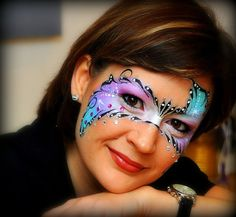 Gorgeous iridescent purple, blue and silver detailed makeup mask accented with crystals by Sparkling Faces. Adult Face Painting, Face Painting Tips, Face Painting Designs, Body Painting, Mask Face Paint, Face Paint Makeup, Mask Makeup, Eye Makeup, Wie Macht Man