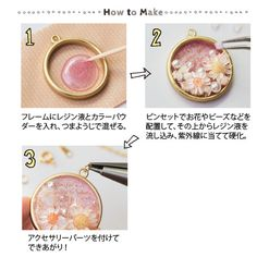 Using an open back ring pendant against contact paper or package tape, fill with resin, embellishments such as pearls, glitter and died flowers.