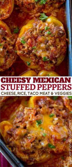 You'll love these Cheesy Taco Stuffed Peppers! Mexican Stuffed Peppers made with ground beef, rice, salsa and cheese. Perfect for meal prepping and easy weeknight dinners!