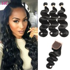 8a Malaysian Virgin Hair closure with 3Bundles malaysian Body Wave With Closure ali queen Virgin Human Hair With Closure -- Clicking on the VISIT button will lead you to find similar product