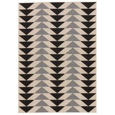 Hendrick is a master of contrast, creating drama with bold triangles in opposite orientations. The Hendrick Ivory/Black Indoor/Outdoor Area Rug makes a bold statement with its eye-catching geometric pattern in jet black and parchment. Woven from durable, weather-resistant fibers.